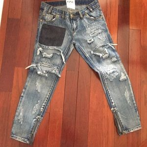 ONE TEASPOON Distressed Skinny Ankle Jeans Size 26